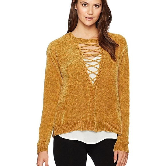 Mustard Cable Front Lace Up Two-Fer Sweater Boutique 358f7038d
